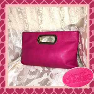Charming Charlie Bright Pink Clutch GOOD CONDITION